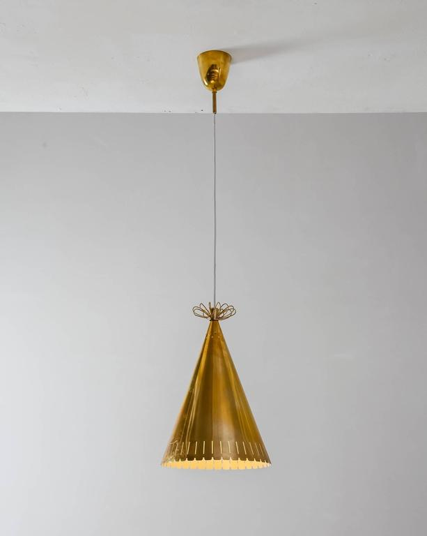 Paavo Tynell Rare Brass Cone Shaped Pendant for Taito, Finland, 1940s 2