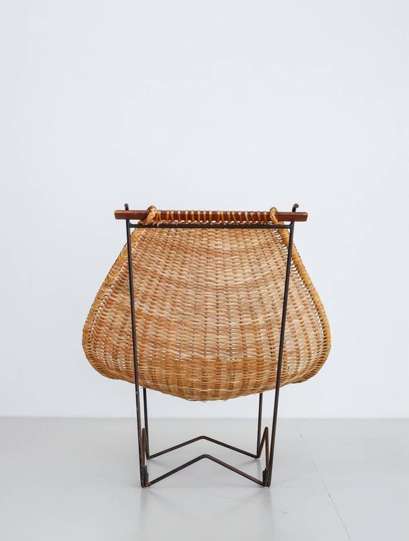 American John Risley Metal and Rattan Duyan Lounge Chair, USA, 1950s For Sale
