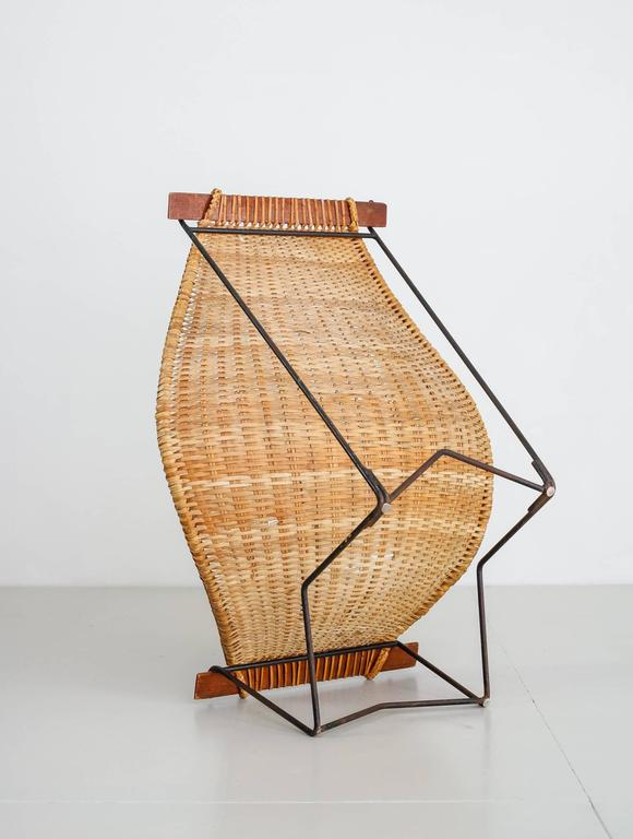 Mid-20th Century John Risley Metal and Rattan Duyan Lounge Chair, USA, 1950s For Sale