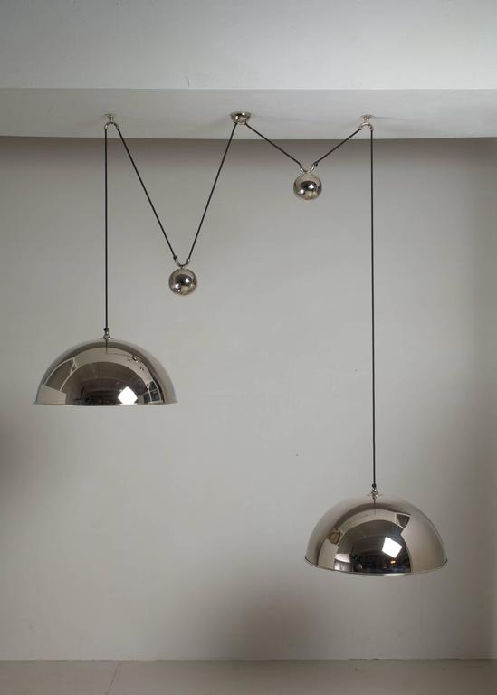 Late 20th Century Florian Schulz Double Nickel Posa Pendants with Counterweights, Germany For Sale