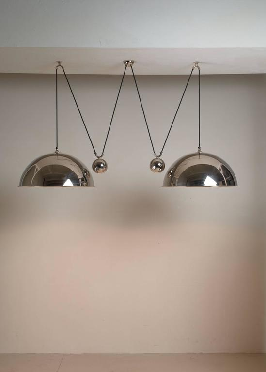 Brass Florian Schulz Double Nickel Posa Pendants with Counterweights, Germany For Sale