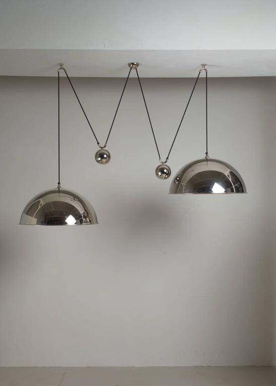 Mid-Century Modern Florian Schulz Double Nickel Posa Pendants with Counterweights, Germany For Sale
