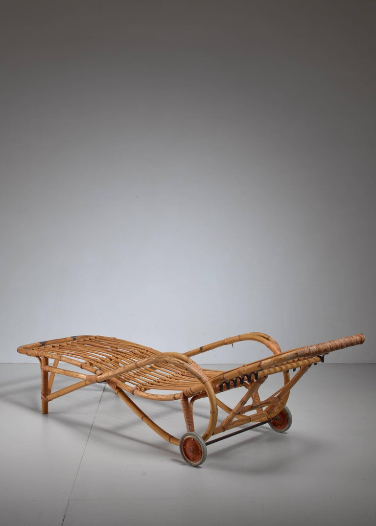 Adjustable bamboo garden chaise longue germany 1930s for for Garden chaise longue