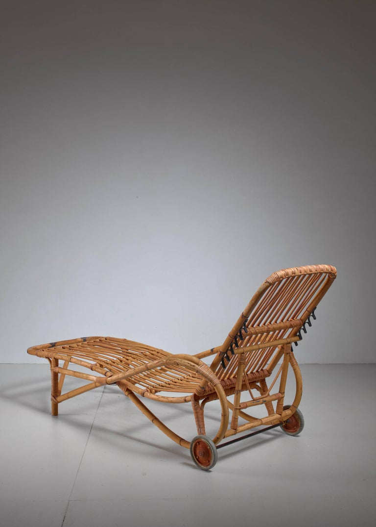 Adjustable bamboo garden chaise longue germany 1930s for for Chaise 64 cm