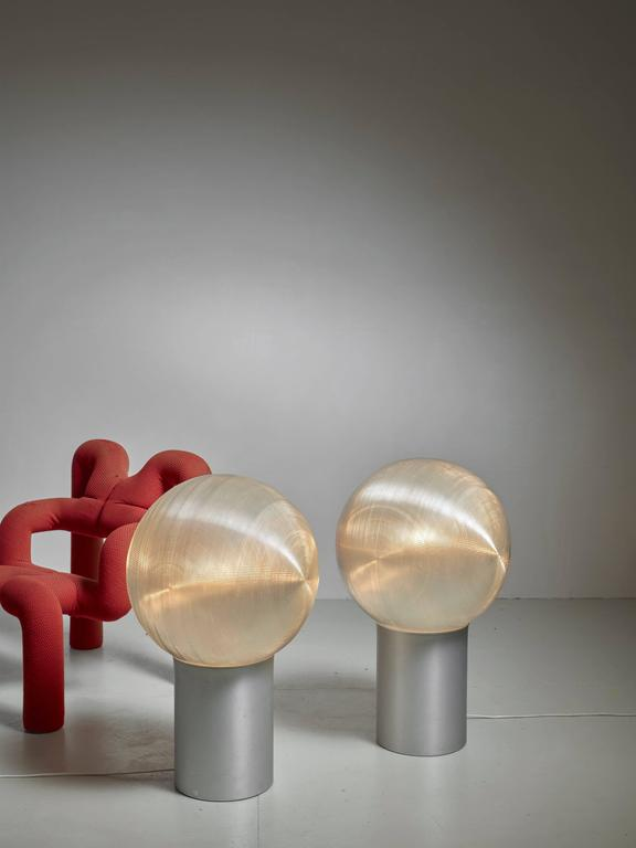 Hilde Roth Pair Of Floor Lamps With Plastic Globe Diffuser