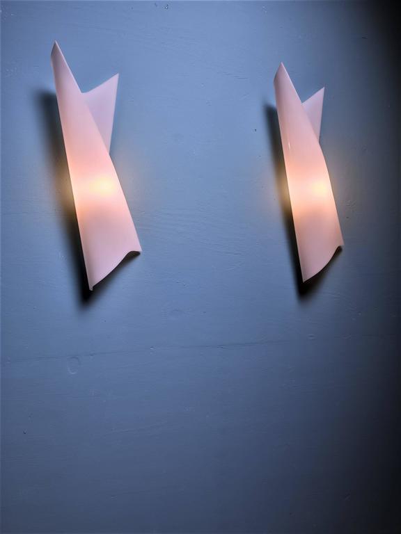Bertil Brisborg Extra Large White Plexiglass Swirl Wall Lamps, Sweden, 1950s 2