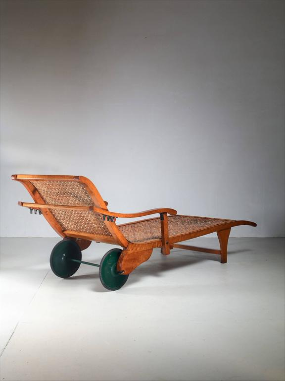 Beech and woven cane garden chaise on wheels germany for Chaise 1930