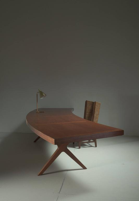 L.E Brevilly Extremely Large Boomerang Shaped Desk, France, circa 1965 3