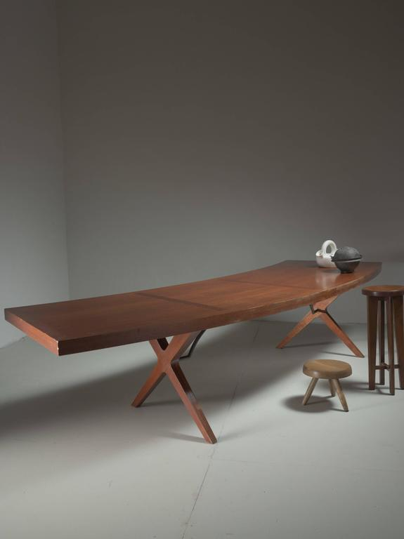 L.E Brevilly Extremely Large Boomerang Shaped Desk, France, circa 1965 5