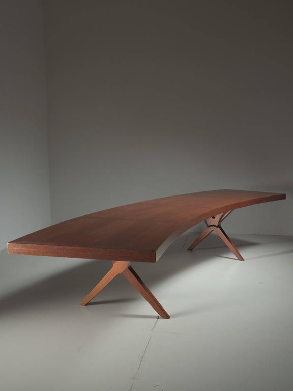 L.E Brevilly Extremely Large Boomerang Shaped Desk, France, circa 1965 2