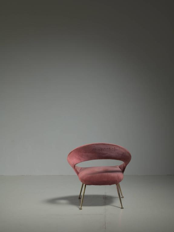 Italian Side Chair in Soft Pink Velours, 1950s In Good Condition For Sale In Amsterdam, NL