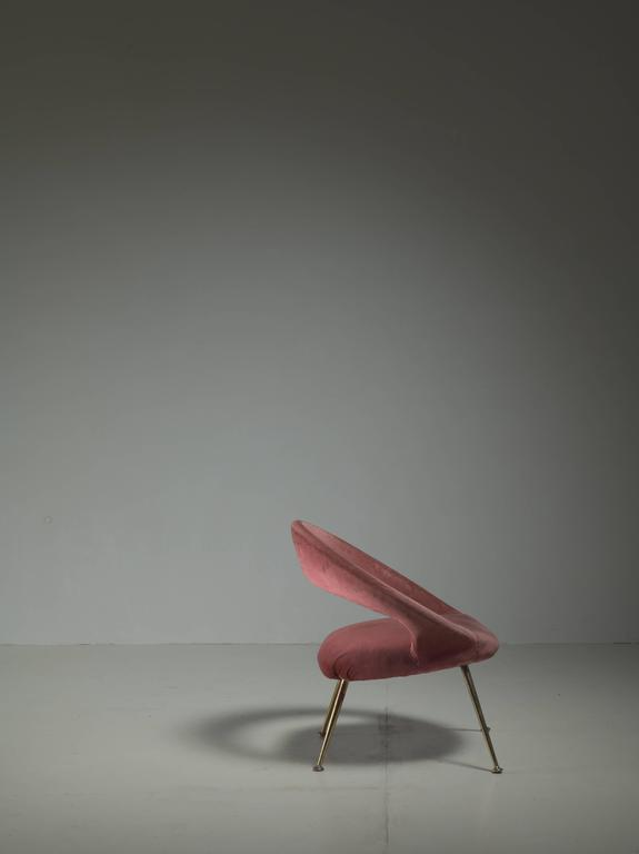 Brass Italian Side Chair in Soft Pink Velours, 1950s For Sale