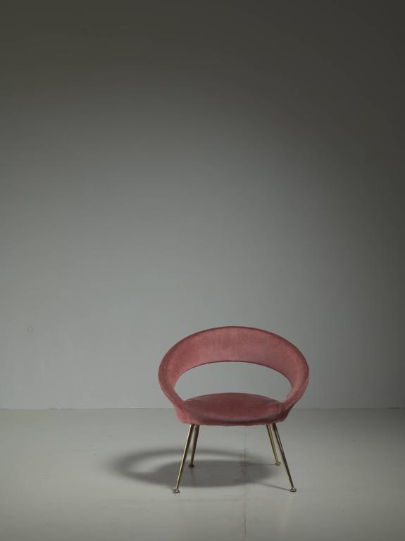 Italian Side Chair in Soft Pink Velours, 1950s For Sale 1