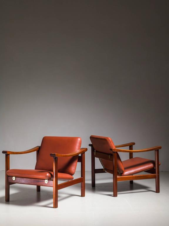 Danish Hans Wegner Pair of Lounge Chairs for GETAMA, Denmark, 1950s For Sale