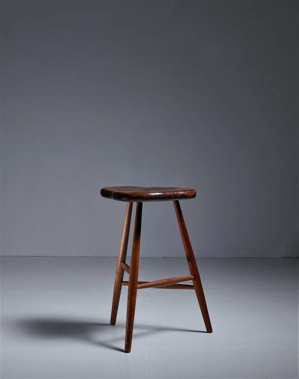 Michael Elkan Studio Crafted Walnut Stool Usa 1980s For
