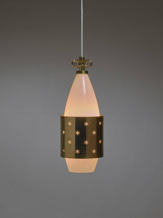 Scandinavian Modern Paavo Tynell K2-12 Opaline Glass and Brass Pendant for Idman, Finland, 1950s For Sale