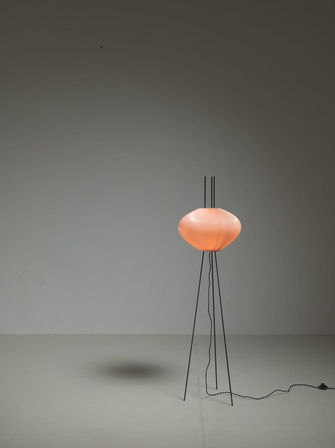 Beautiful minimalist rispal lamp with light pink shade for Light pink floor lamp shade
