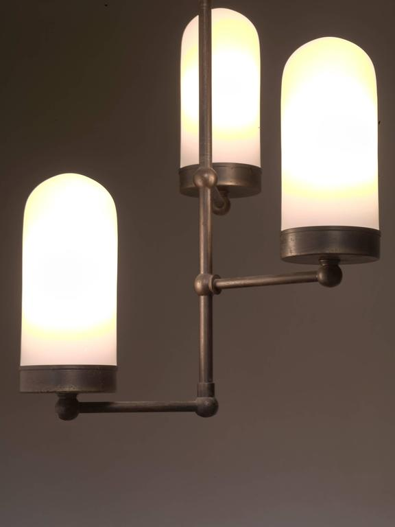 Art Deco Three-Armed Chandelier with Opaline Glass Shades, Denmark, 1920s For Sale