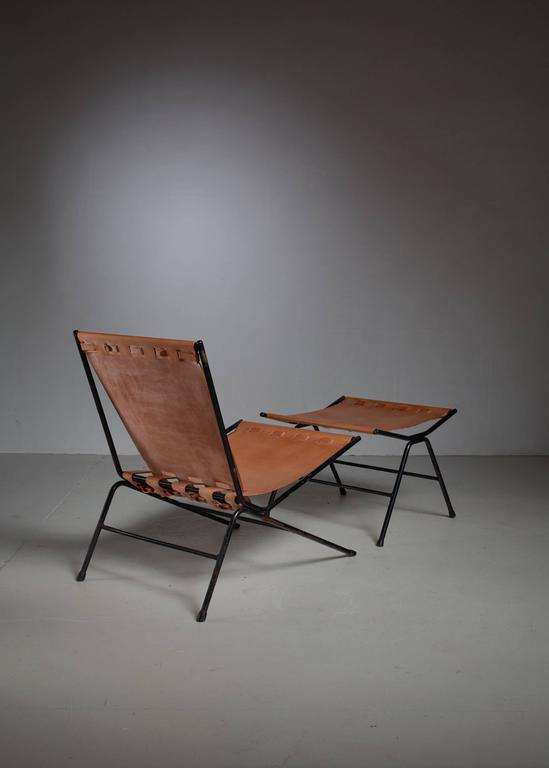Mid-Century Modern Allan Gould Lounge Chair with Ottoman, USA, 1950s For Sale