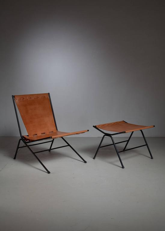 American Allan Gould Lounge Chair with Ottoman, USA, 1950s For Sale