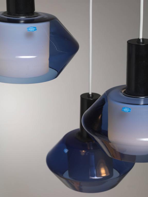 Finnish Blue K2-140 Pendants by Tapio Wirkkala for Iittala, Finland, Large Quantity For Sale