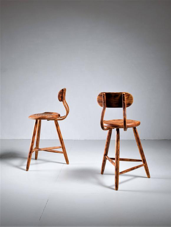 Kai Pedersen Studio Pair Of Bar Stools With Removable