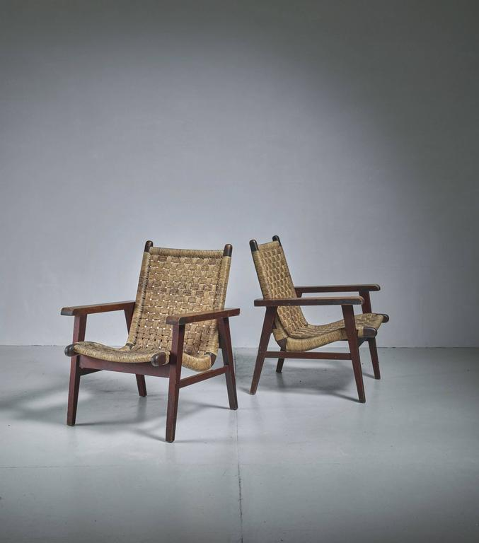 Pair Of Mexican Wood And Cane Armchairs 1950s For Sale At