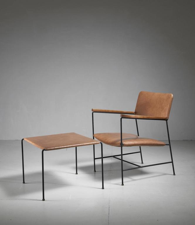 Arden Riddle Iron And Naugahyde Chair With Ottoman Usa