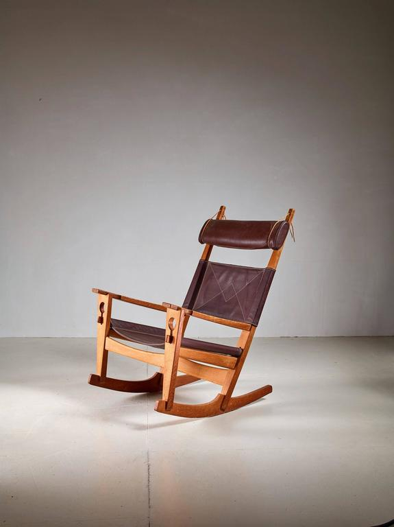 A 1950s U0027Keyholeu0027 Rocking Chair By Hans Wegner. Oak Base With Wonderful Warm