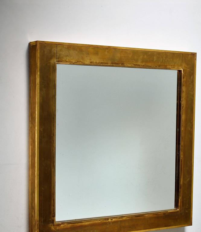 Wall Mirror with Thick Brass Frame, Italy, 1950s For Sale at 1stdibs