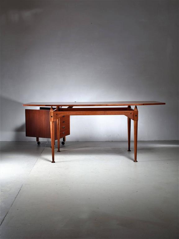 Veneer Franco Albini TL3 Desk Set for Poggi, Italy, Early 1950s For Sale
