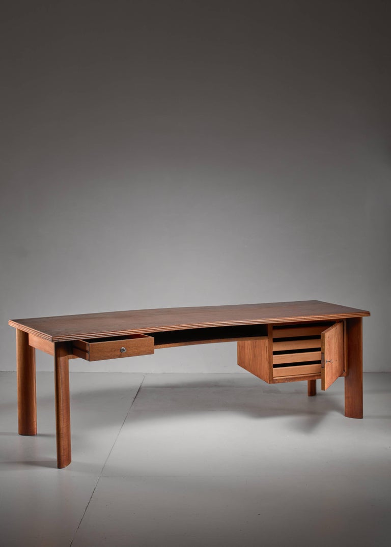 Modern Large Teak Desk by Bela Angelus, Italy, 1940s For Sale