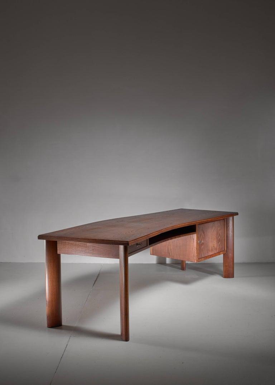Italian Large Teak Desk by Bela Angelus, Italy, 1940s For Sale