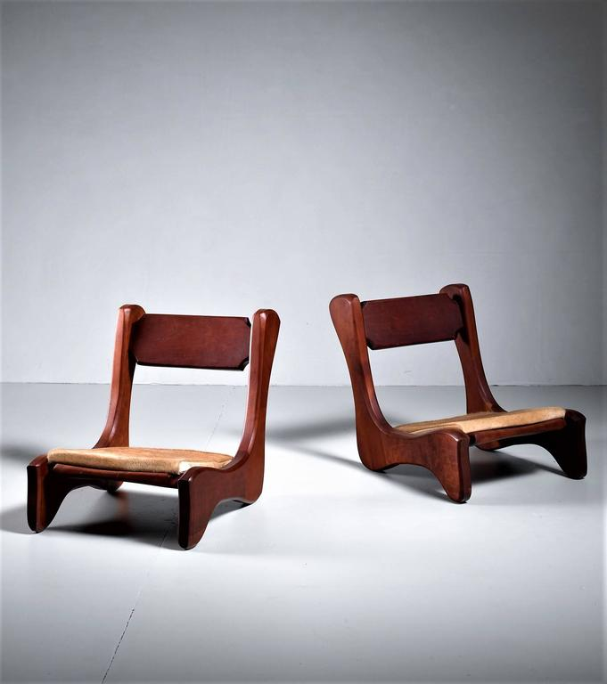 Pair Of American Low Pastor Chairs With Cowhide Seat Pad By John Mcalevey 1972 2