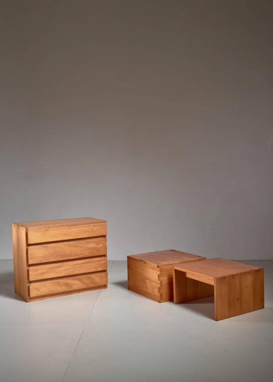 Mid-Century Modern Campagne Style Pine Set of Three Pieces, France, 1960s For Sale