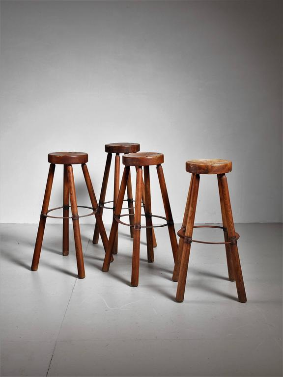 Set Of Four Wooden Stools With Metal France 1950s For