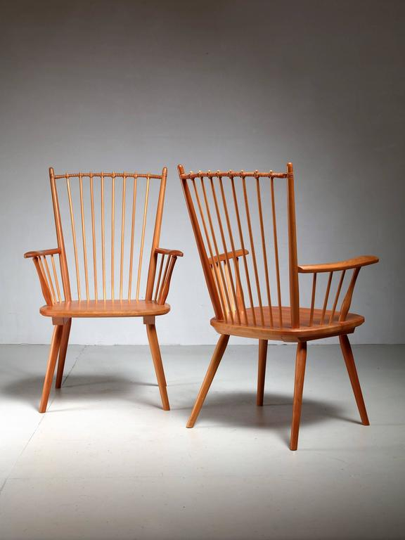 Mid-20th Century Albert Haberer Pair of Arts and Crafts Chairs, Germany, circa 1950 For Sale