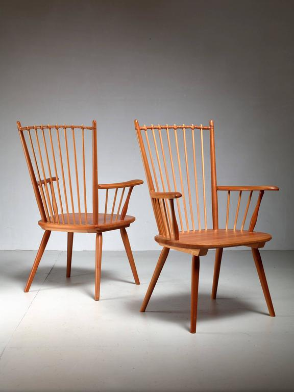 Leather Albert Haberer Pair of Arts and Crafts Chairs, Germany, circa 1950 For Sale