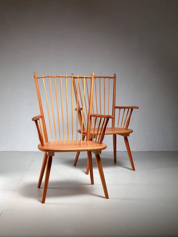 Albert Haberer Pair of Arts and Crafts Chairs, Germany, circa 1950 For Sale 1