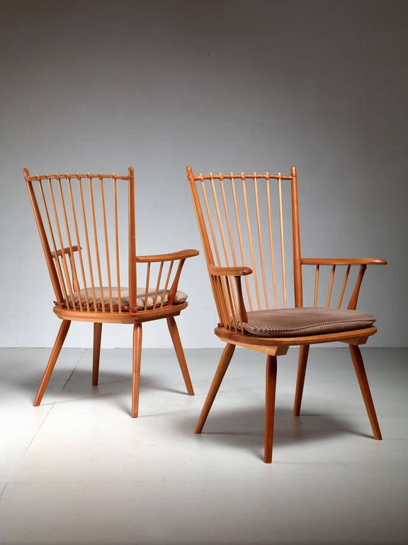 Albert Haberer Pair of Arts and Crafts Chairs, Germany, circa 1950 In Excellent Condition For Sale In Maastricht, NL