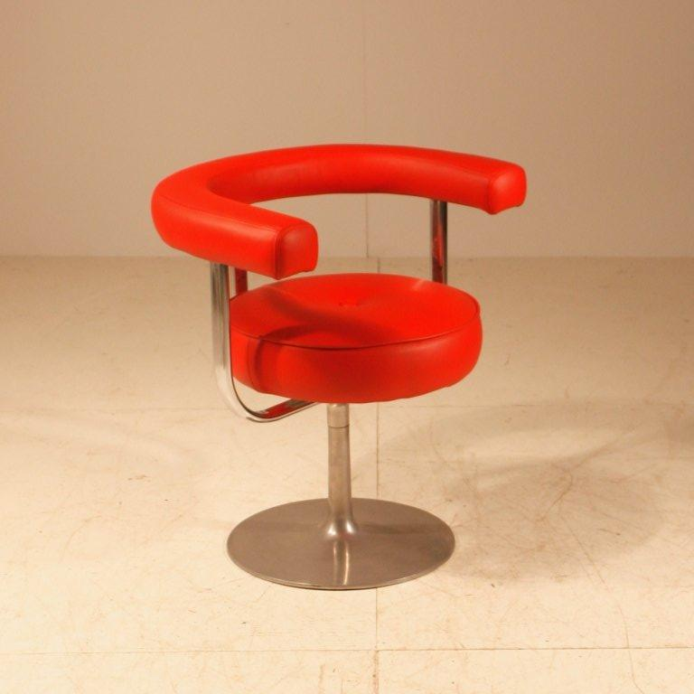 Scandinavian Modern Esko Pajamies Metal And Red Leather Desk Chair For Lepo Finland 1960s