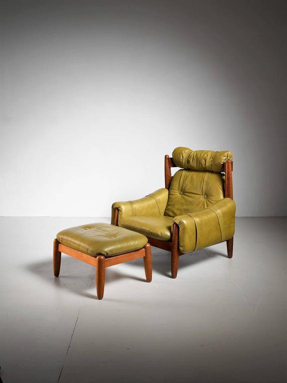 Ottomans Dakota Ottoman Box Oak Shade: Oak Lounge Chair And Ottoman With Green Leather Cushions