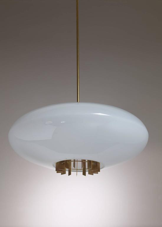 One of Two Large Opaline Glass and Brass Pendants, Sweden, 1940s 5