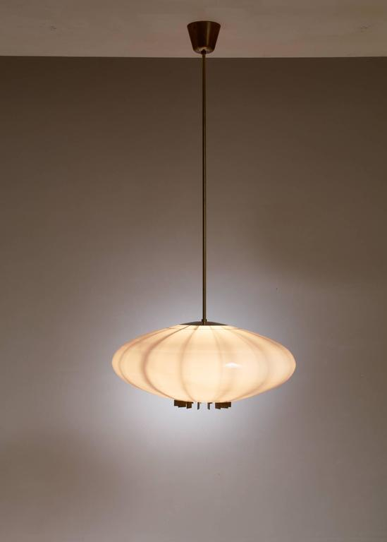 One of Two Large Opaline Glass and Brass Pendants, Sweden, 1940s 3