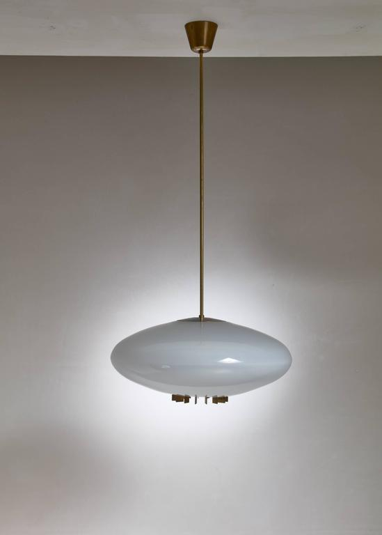 One of Two Large Opaline Glass and Brass Pendants, Sweden, 1940s 4
