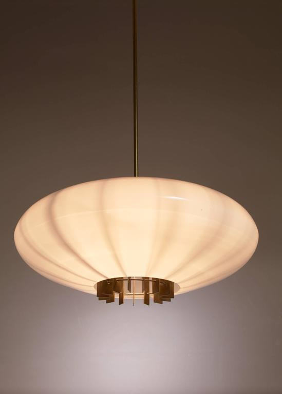 One of Two Large Opaline Glass and Brass Pendants, Sweden, 1940s 2