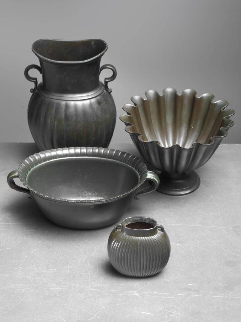 Scandinavian Modern Just Andersen Set of Four Metal Pieces Denmark, 1930s For Sale