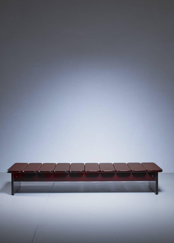Minimalist Geraldo de Barros Wooden Bench from Brazil, 1960s For Sale