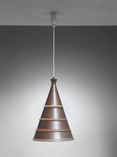 Knud Hjerting Model p208 Copper Pendant for Lyfa, Denmark, 1960s