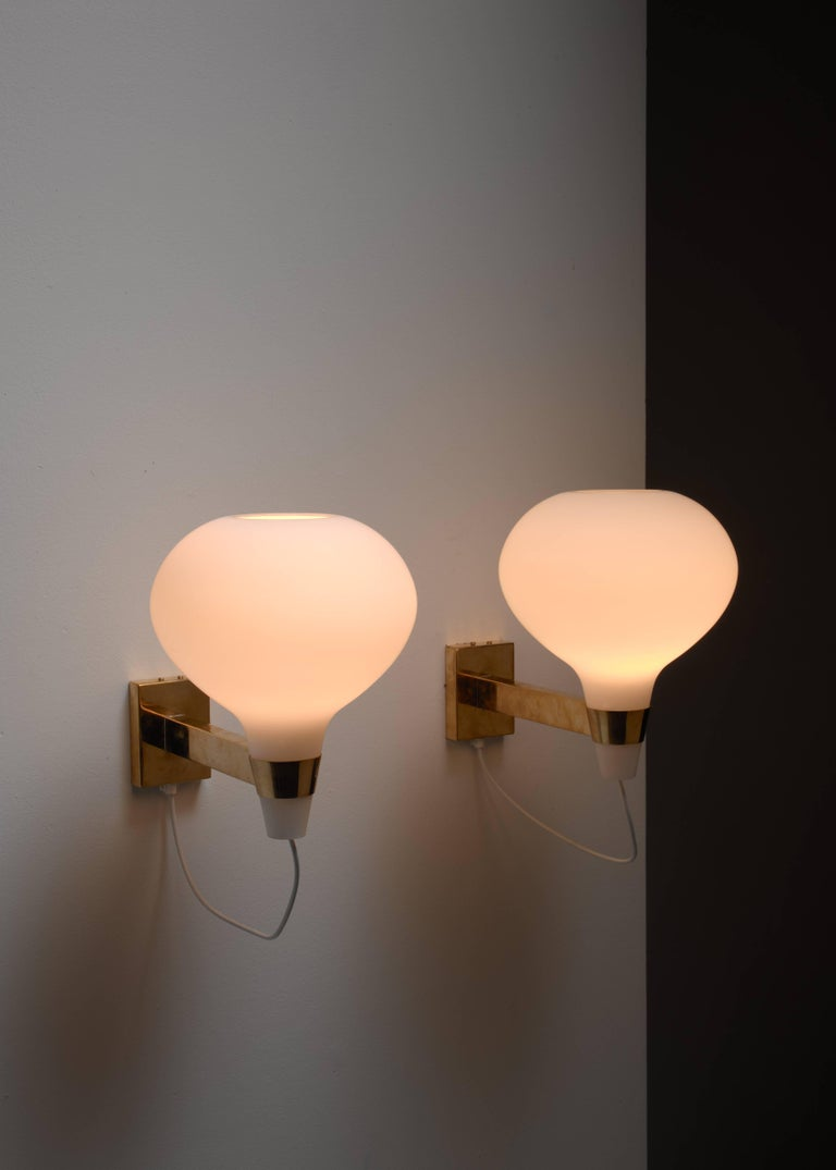 Finnish Lisa-Johansson Pape Brass and Opaline Glass Wall Lamps, Finland, 1950s For Sale